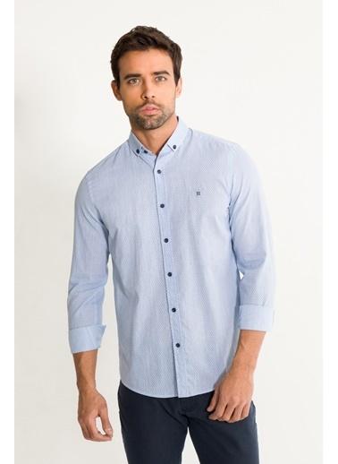 Avva Erkek  Baskılı Düğmeli Yaka Slim Gömlek A01S2203 Mavi